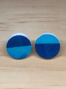 blue geo stud earrings