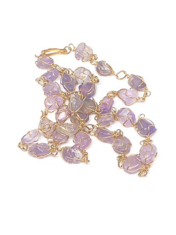 Amethyst Gold Wire Necklace