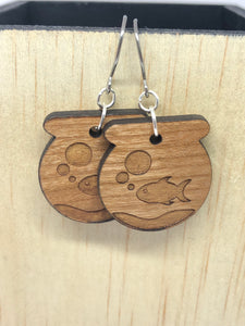 Fish Bowl Cherry Wood Earrings