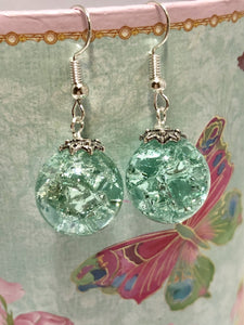 Pale turquoise cracked marble sterling silver earrings