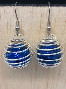 Blue Cracked Marble Cage Earrings