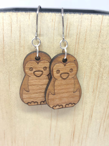 Penguin Cherry Wood Earrings