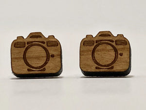 Cherry wood camera stud earrings