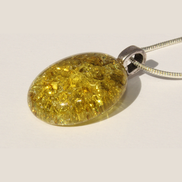 Yellow Cracked Glass Sterling Silver Necklace - small
