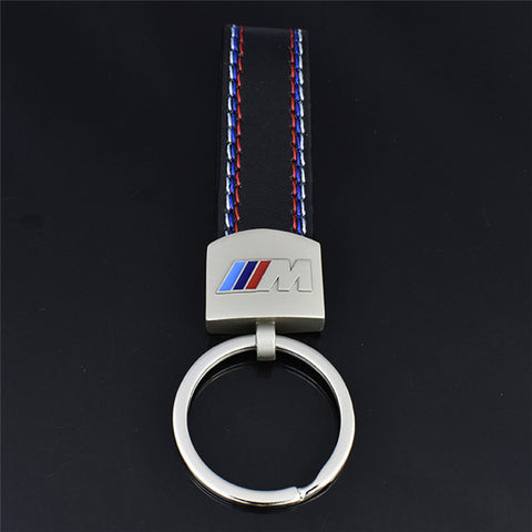 BMW M performance Leather/Aluminum Keychain