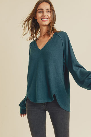 Long sleeve thermal button down  top in olive, perfect for layering
