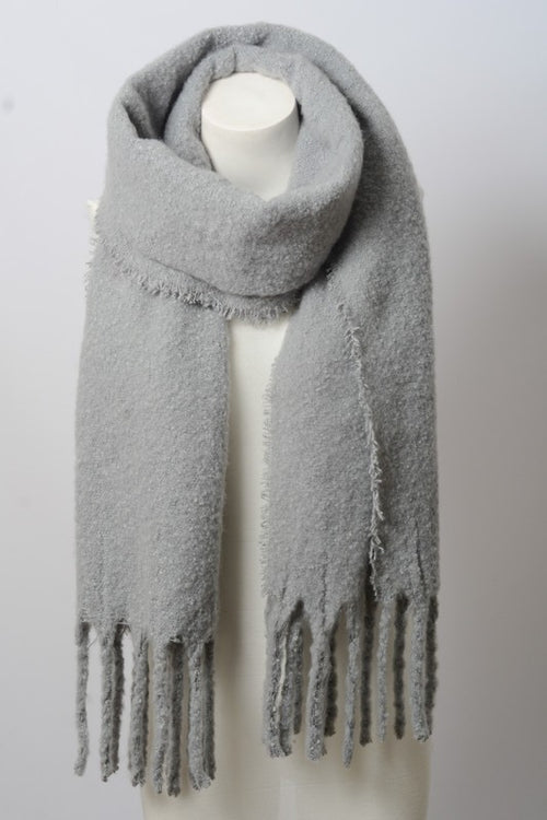 Cozy mohair solid tassel trim blanket scarf in grey and black