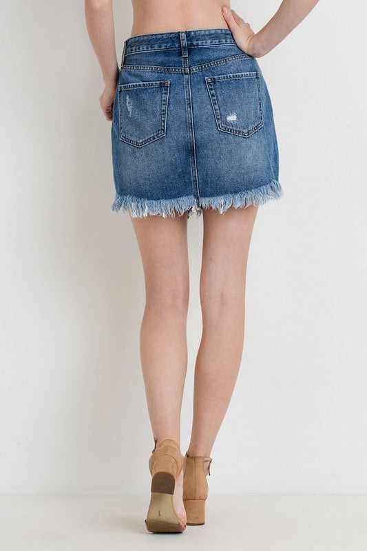 JBD distressed denim button up skirt