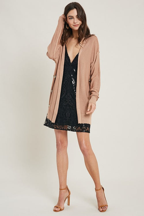 Wishlist lightweight side button cardigan and cami set in dove