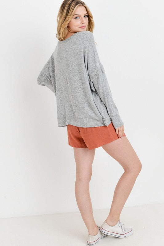Lazy Sunday brushed hacci boxy with ribbed contrast hem