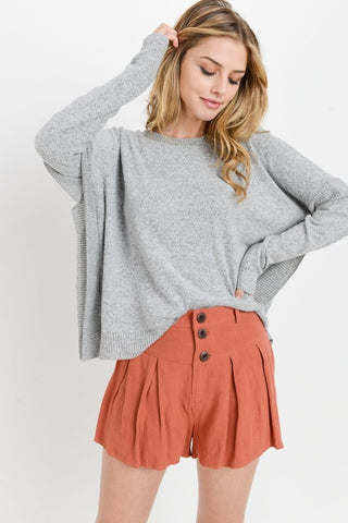 Wasabi + Mint stripped v-neck hi-lo brushed sweater in olive and wine
