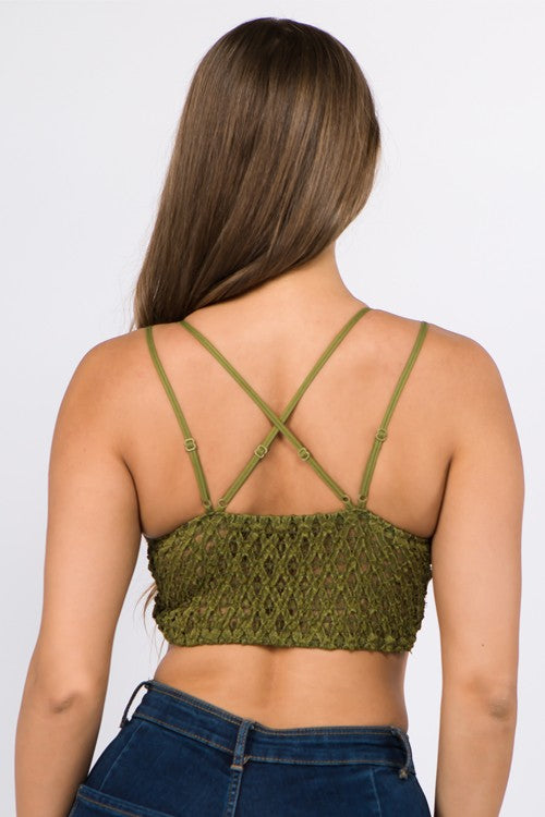 Beautiful crochet lace bralette, pull over style in black and dark olive