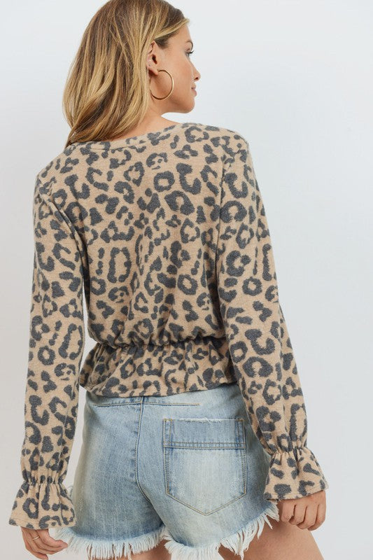 Paper Crane brushed cheetah print, super soft top with elastic hemline and flounce detail