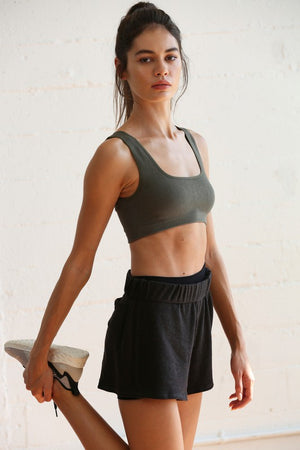 Seamless crop tank bra top