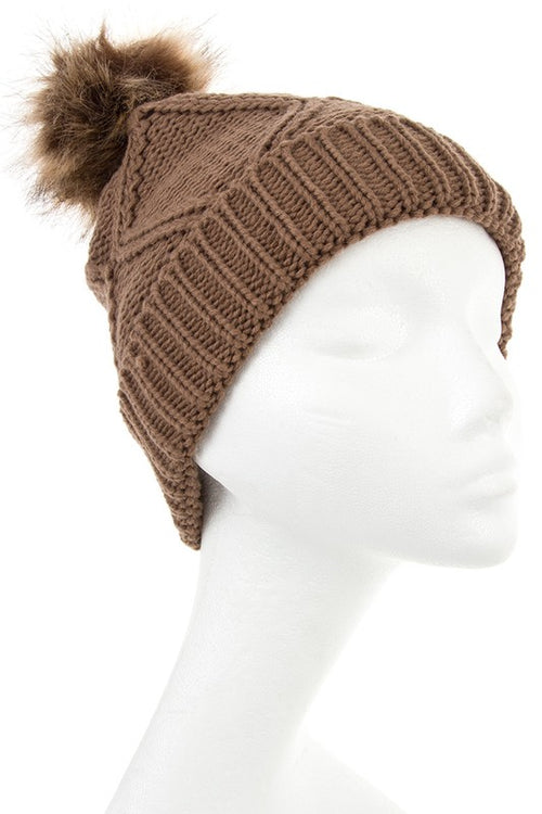 Diamond faux fur pom pom knit beanie in black and khaki