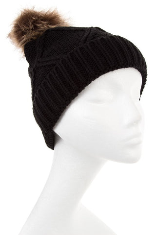 Textured beanie with pom pom in black, ivory and mocha