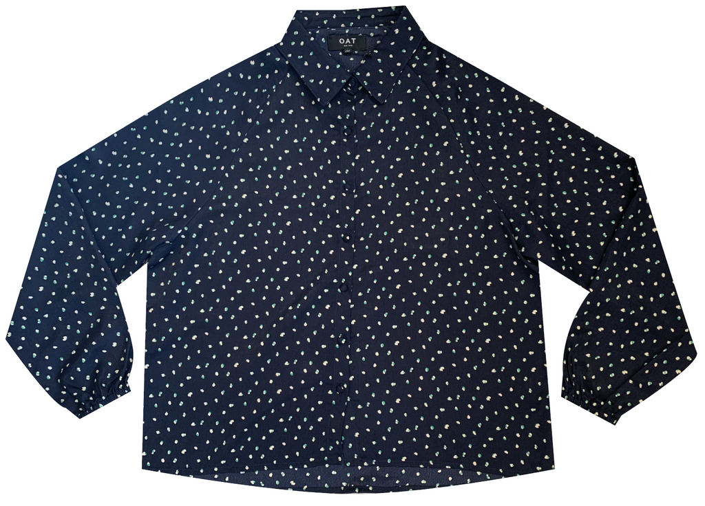 Oat navy dot soft shirt