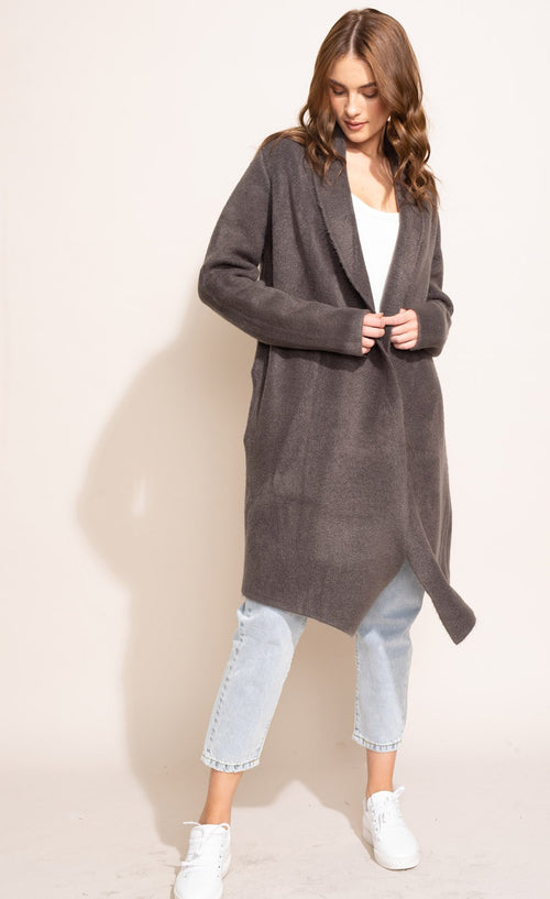 Pink Martini Stockport coat in dark grey, black and khaki/brown