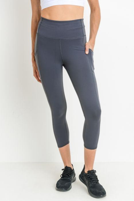 Mono B capri supplex performance leggings in blue grey