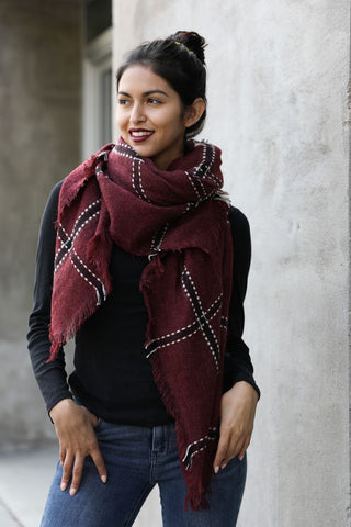 Leto flannel frayed scarf