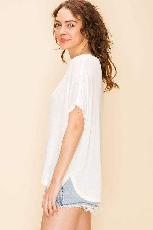 DZ V Neck dolman short sleeve high low hem top in white, coral and blue night