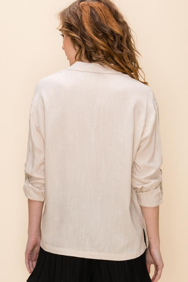 DZ Button up top with fold up sleeved in light taupe