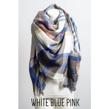 Leto flannel frayed edge flannel scarf
