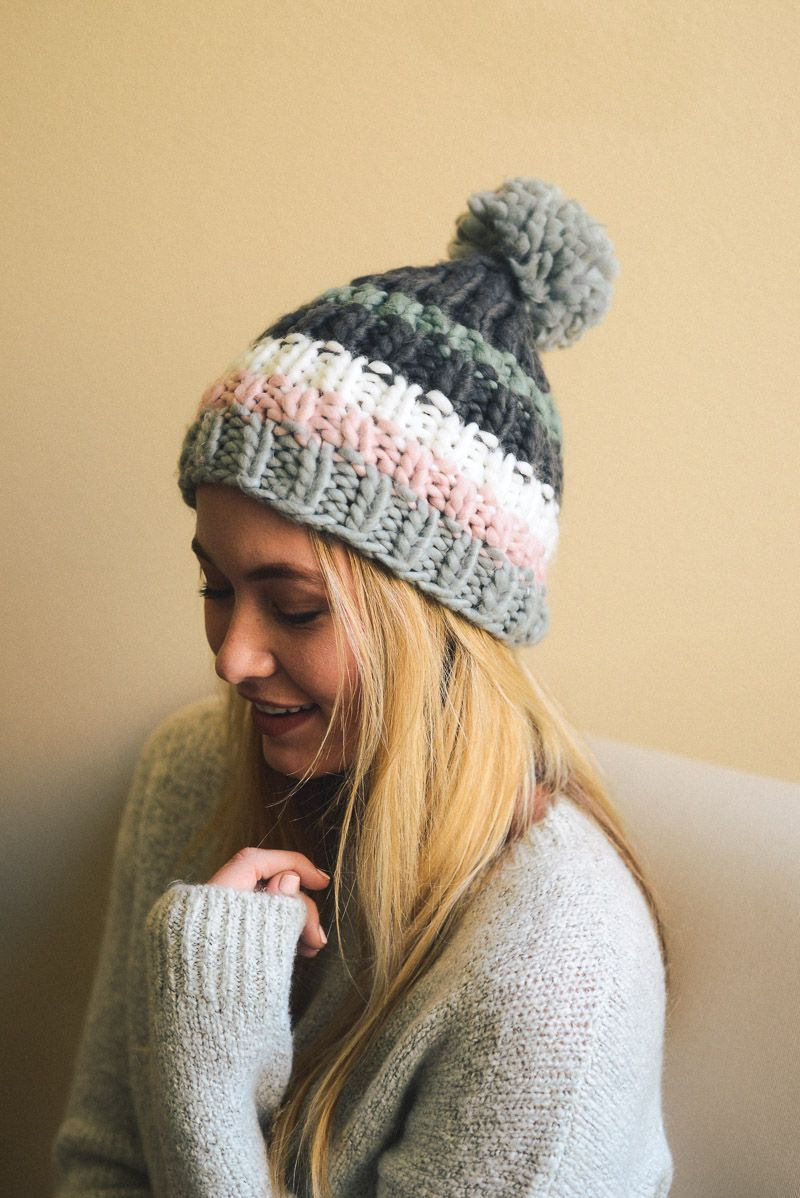 Striped pom beanie in burgundy and gray