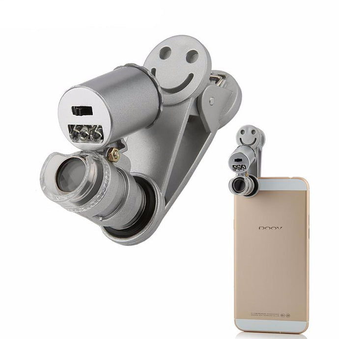60X Optical Zoom Phone Lens for iPhone / Samsung (LED Microscope Magnifier Lens) - The Daily Splurge