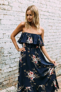 Blue Off Shoulder Summer Dress / Floral Maxi Dress - The Daily Splurge