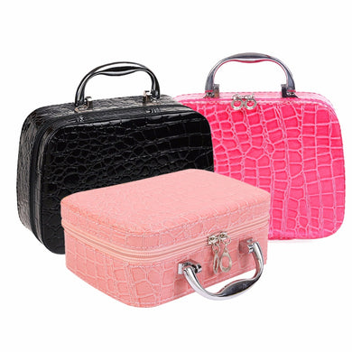 Makeup Storage Bag Case Jewelry Box Cosmetic Organizer-Leather