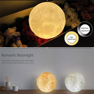3D Print Moon Lamp-USB Charging & Touch Control Brightness - The Daily Splurge
