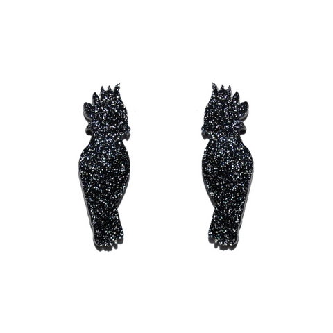 BLACK COCKATOO STUDS - Oh My Gum Designs