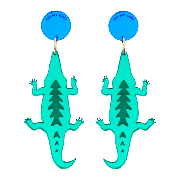Oh My Gum Mirror Acrylic Australiana Saltwater Crocodile Earrings