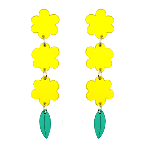 Oh My Gum Mirror Acrylic Australiana Golden Wattle Earrings