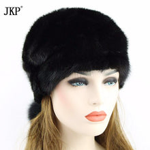 100% Genuine Mink Fur Hats Russia Women Winter With Fur Elegant High Quality Luxury Fur Pompons Ladies Of The Beanie TissueZD-11