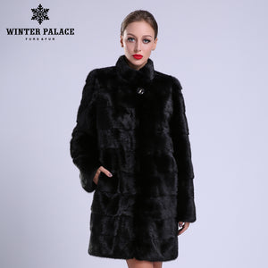 2016-2017 New style fashion fur coat natural mink stand  Collar good quality mink fur coat  women natural black coats of fur