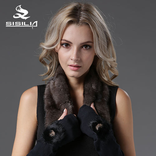 2016 New Arrival Mink Fur Scarf Half Skin in Horizontal Lined Muffler 100% Real Natural Fur Scarf Fashion Scarf Fur GrayColor