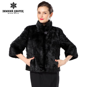 2016 New style women's fur coat, Black short-sleeve fashion  fur vest, winter fur vests fur,Slim short  mink coat