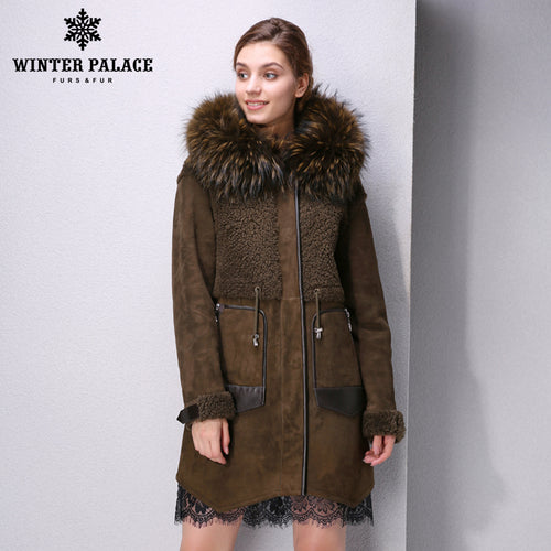 Sheep Shearling Coat. 2017 Best-selling fashion coats Genuine Leather Mandarin Collar Warm white fur coat Young women sheepskin coats WINTER PALACE