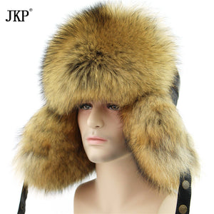 2017 Genuine Fur Star Fox Fur Men's Hats Real Raccoon Lei Lei Men's Bomber Hats Genuine Leather Russian Winter Hats Tops
