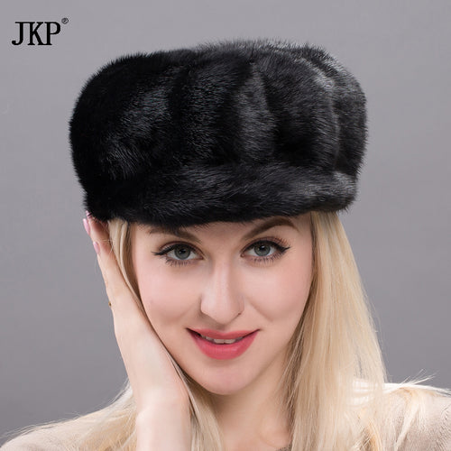 2017 Genuine Russian Women Whole Skins Mink Fur Hat Solid Hat Higt Quality Hat Fancy Mink Fur Beanie Hat DXJ17-31