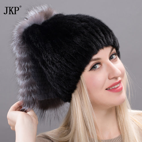 2017 Hot Woman cape fur cape mink cap with big silver pompom fox fur Russian fashion fur cape good quality female hat DHY17-09