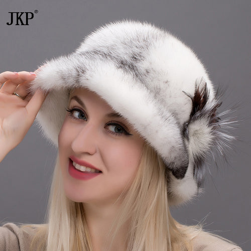 2017 Ladies Fur Hat Winter All Real Mink Wool Patterns Luxury Fashion Solid Ladies High Quality  DHY17-28