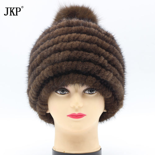 2017 New 100% Real Mink Leather Hand Made Queen Hat Style Knitted Hat & Cap Women's Winter Hat Free Shipping