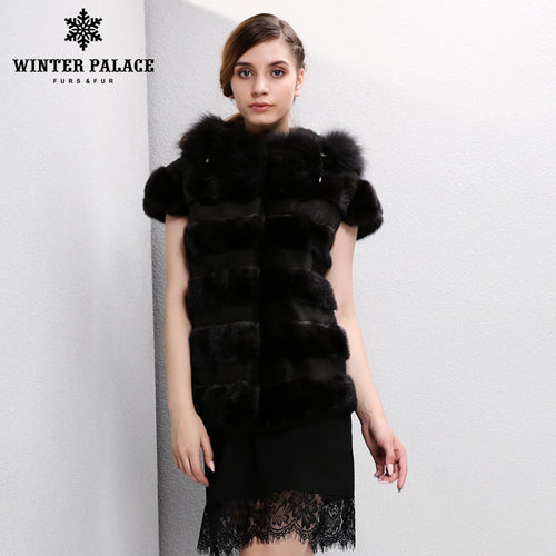 2017 New Fashion Winter Lady Natural Fox Fur Vest Women's Real Genuine Fur Leather Jacket Overcoat Girl's Fox Fur Vest Coat