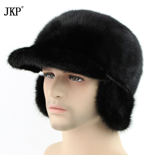 2017 New Winter Men's Mink Fur Hat Russian Set Hot Caps Beanies Hat  Outdoor Mink  High Bomber Hats ZD-01