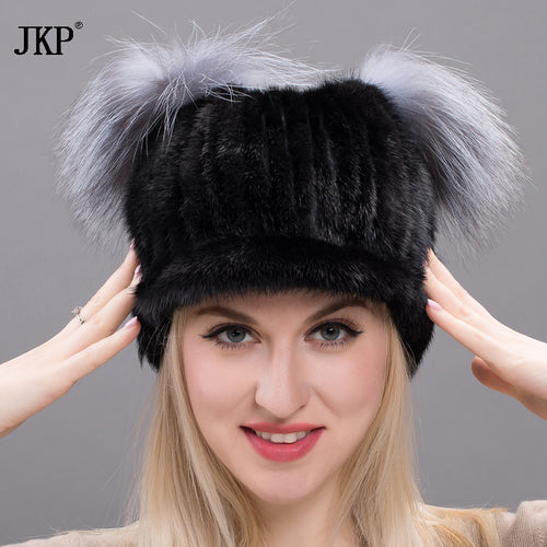 2017 New autumn and winter mink hair tongue skin cap Russian woman fashion cold temperature cap woman with fox fur ball DXJ17-34