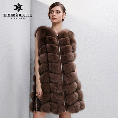 2017 Trend long fox fur vest Fashion real fox fur vest Thin fox fur vest women Warm fur coat WINTER PALACE