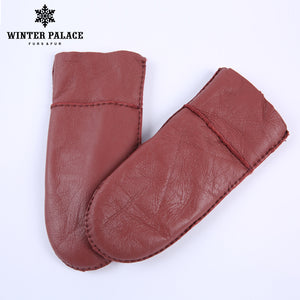 2017 Winter Fashion Heavy Type child Real Leather Wool Fur Gloves Lovely Female Sheepskin Leather Fur Gloves